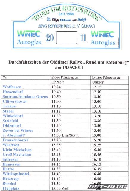 Durchfahrtzeiten Rallye Rotenburg 2011