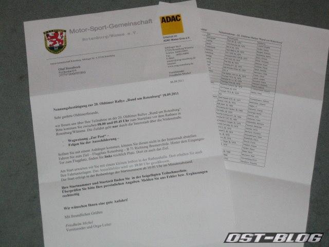Nennungsbestätigung Rallye Rotenburg