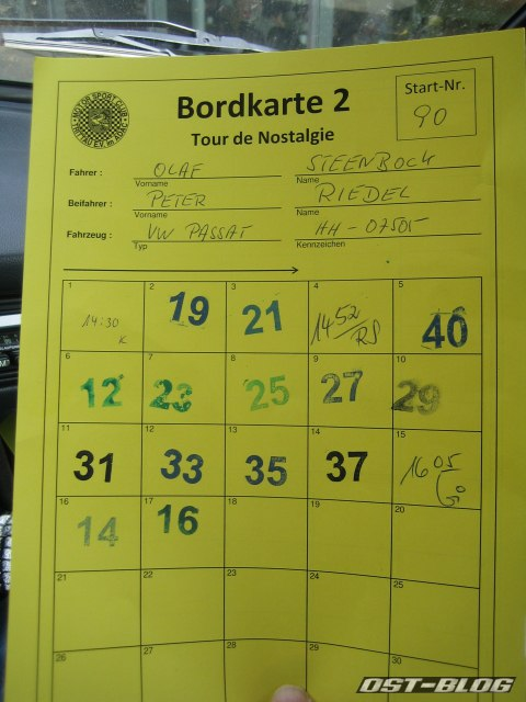 Passat 32 Tour de Nostalgie 2012 Bordkarte